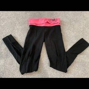 PInk Yoga pants with fold over waste band